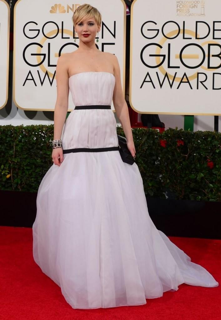 Jennifer Lawrence en Dior   Golden Globes© Red Carpet 2014/AFPRELAX©